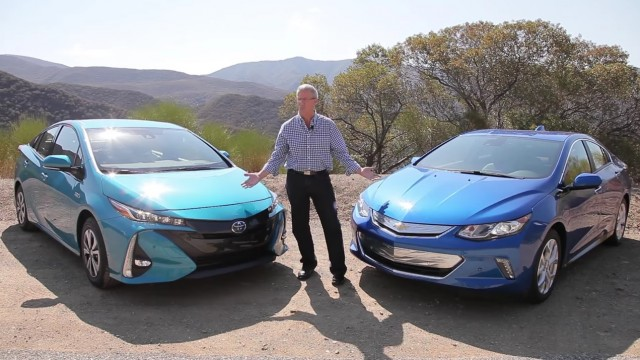 2017 Toyota Prius Prime and 2017 Chevrolet Volt with Green Car Reports editor John Voelcker
