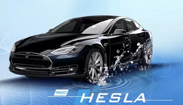"""Dutch """"Hesla,"""" a hydrogen fuel cell-powered Tesla Model S"""