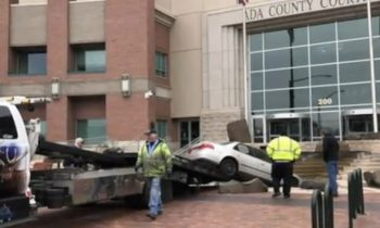 Idaho man upset with court system does donuts in front of courthouse