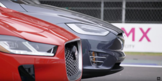 Drag race between 2019 Jaguar I-Pace and Tesla Model X 100D electric cars [video: Jaguar]