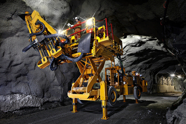 Electric load, haul, dump machine at Goldcorp Borden mine in Ontario