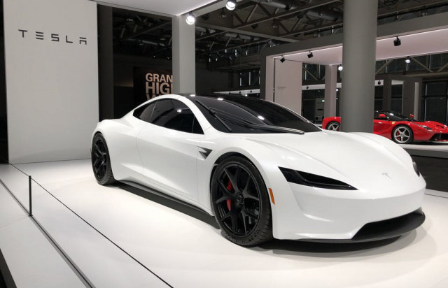 2020 Tesla Roadster at 2018 Grand Basel show - Image via Bluewin